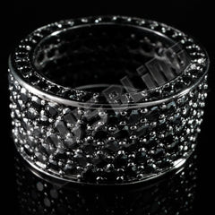 Affordable 18K Black Gold Iced Out Eternity Wedding Ring - Front View