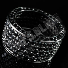 Affordable 18K Black Gold Iced Out Eternity Wedding Ring - Side View