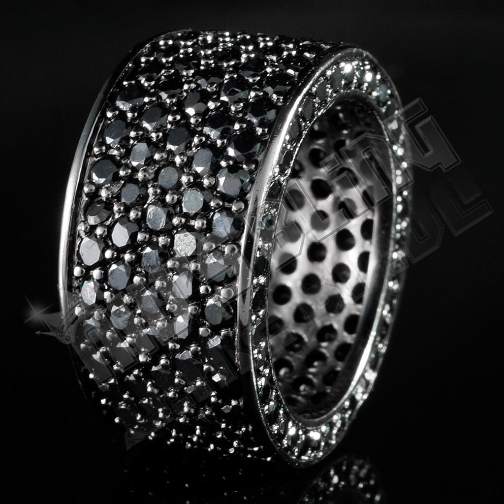 Affordable 18K Black Gold Iced Out Eternity Wedding Ring - Black Background