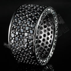 18K Black Gold Iced Eternity Wedding Ring