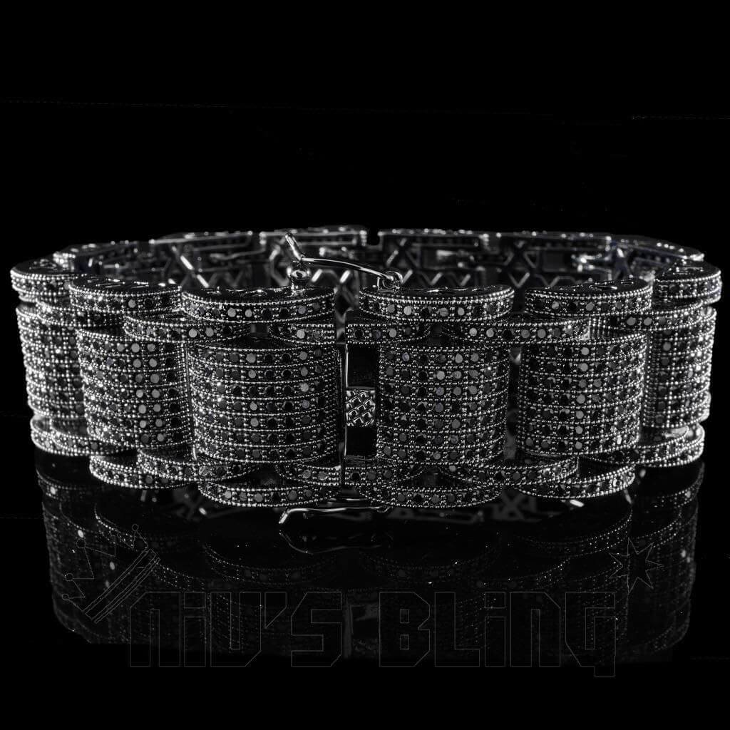 Affordable 18K Black Gold Iced Out Hercules Hip Hop Bracelet - Front view
