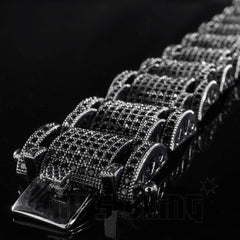 Affordable 18K Black Gold Iced Out Hercules Hip Hop Bracelet - Side View with Tongue Clasp