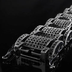 Affordable 18K Black Gold Iced Out Hercules Hip Hop Bracelet - Side View with Box and Safety Clasp