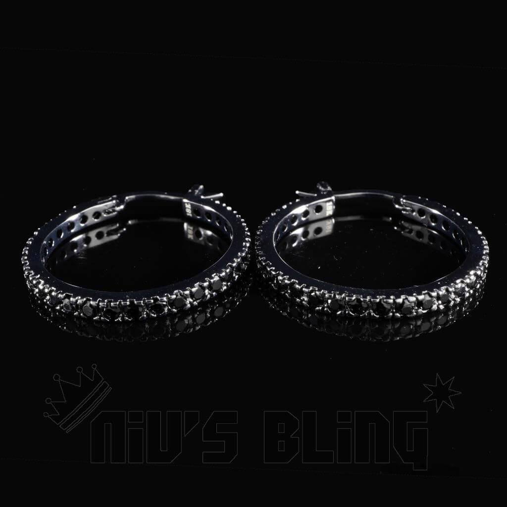 Affordable 18K Black Gold Iced Out Hoop Earrings - Front View