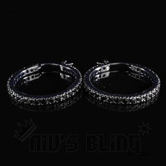18K Black Gold Iced Out Hoop Earrings
