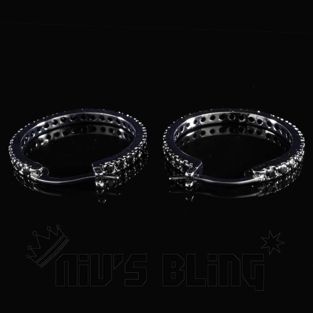 Affordable 18K Black Gold Iced Out Hoop Earrings - Clasp View