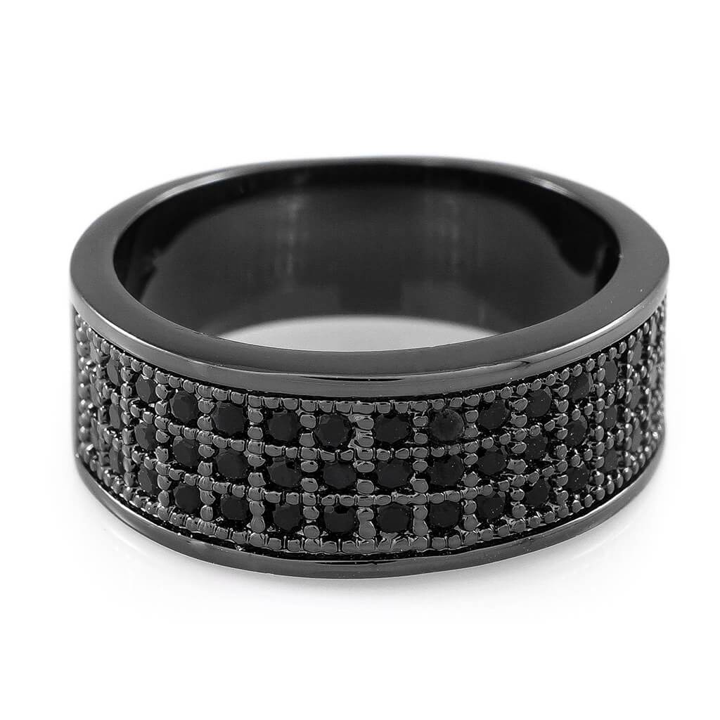 Affordable 18K Black Gold Iced Out Micropave Engagement Pinky Ring - White Background
