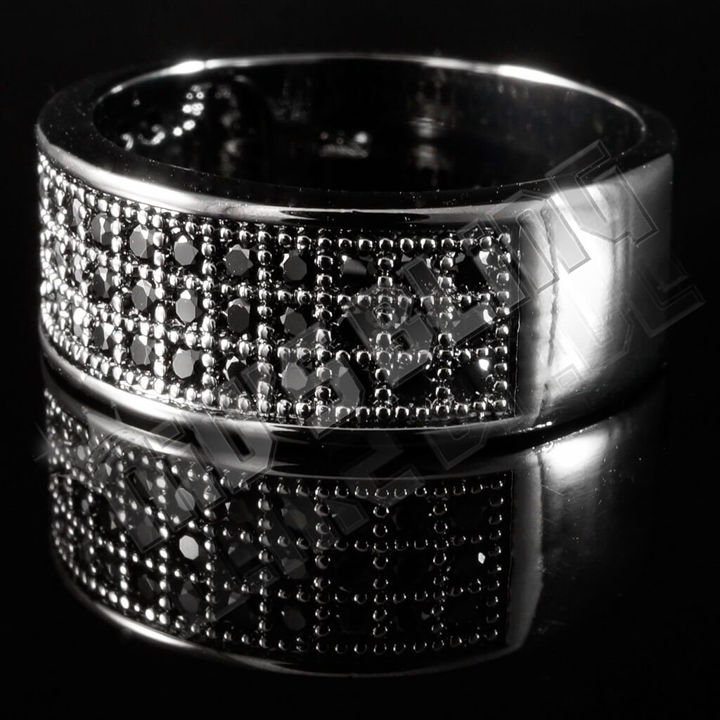 Affordable 18K Black Gold Iced Out Micropave Engagement Pinky Ring - Left Side View