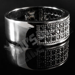 Affordable 18K Black Gold Iced Out Micropave Engagement Pinky Ring - Right Side View