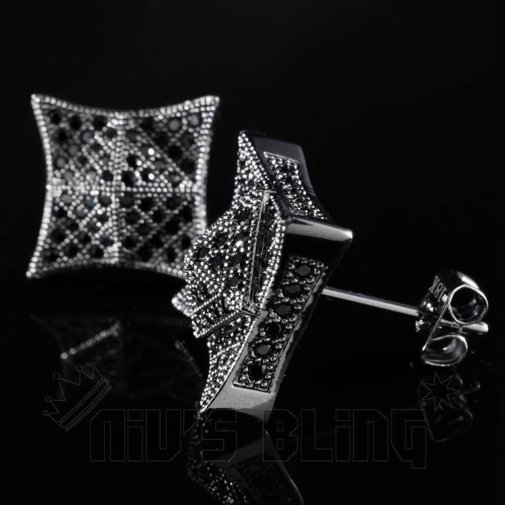 18K Black Gold Iced Pyramid Stud Earrings