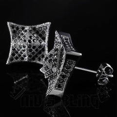18K Black Gold Iced Out Pyramid Stud Earrings