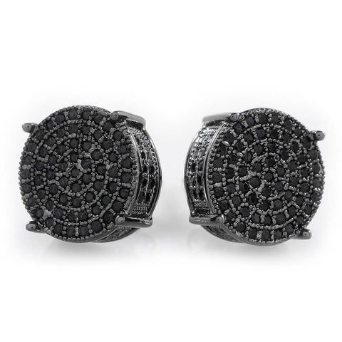 18K Black Gold Iced Out Round Stud Earrings
