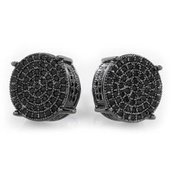 Affordable 18K Black Gold Iced Out Round Stud Hip Hop Earrings - White Background