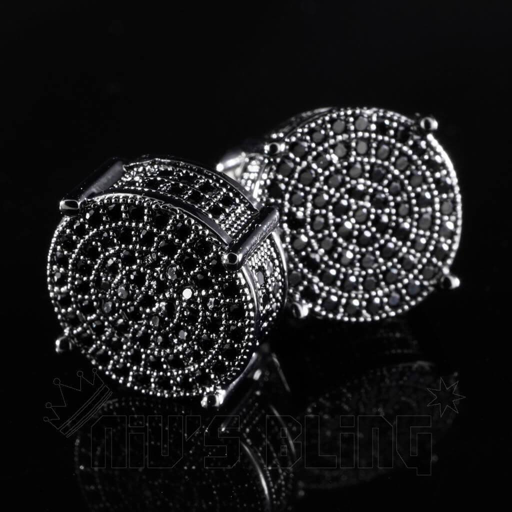 Affordable 18K Black Gold Iced Out Round Stud Hip Hop Earrings - Side View