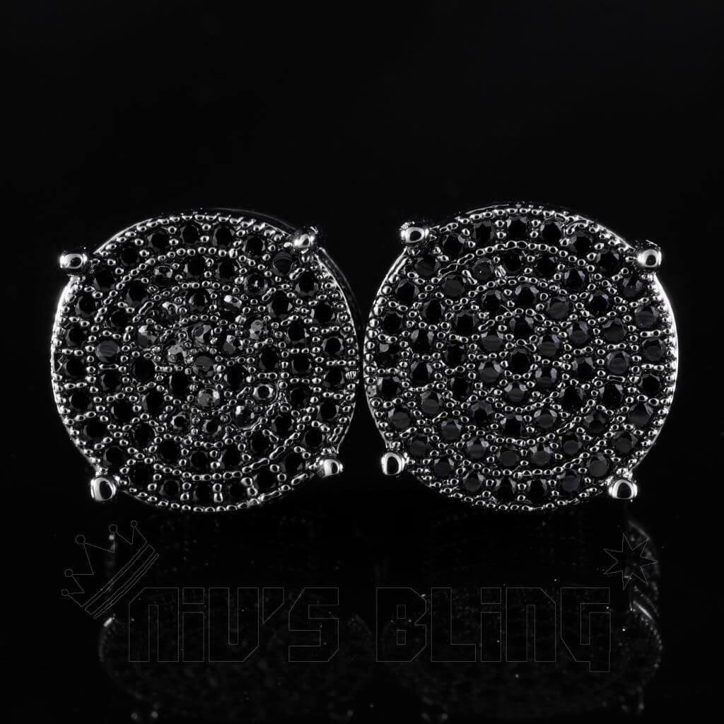 Affordable 18K Black Gold Iced Out Round Stud Hip Hop Earrings - Front View