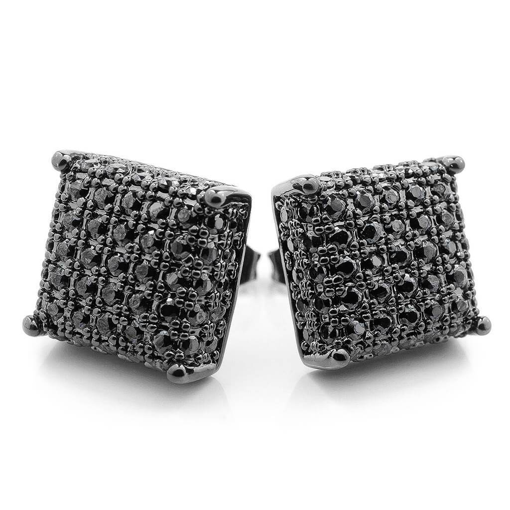 Affordable 18k Black Gold Iced Out Square Stud Hip Hop Earrings - White Background