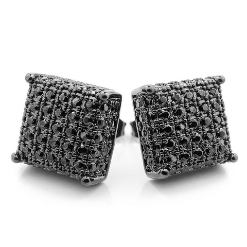 18K Black Gold Iced Out Square Stud Earrings