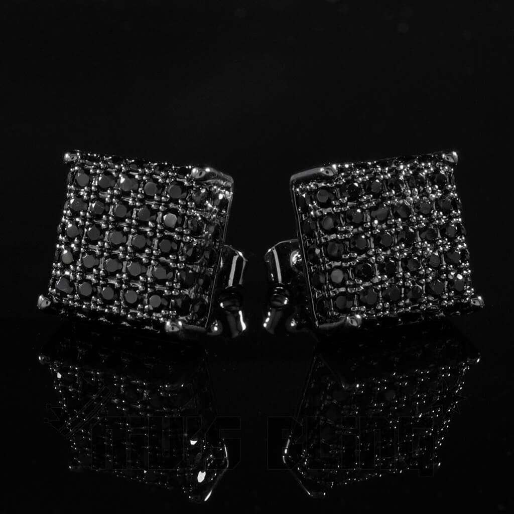 Affordable 18k Black Gold Iced Out Square Stud Hip Hop Earrings - Front View