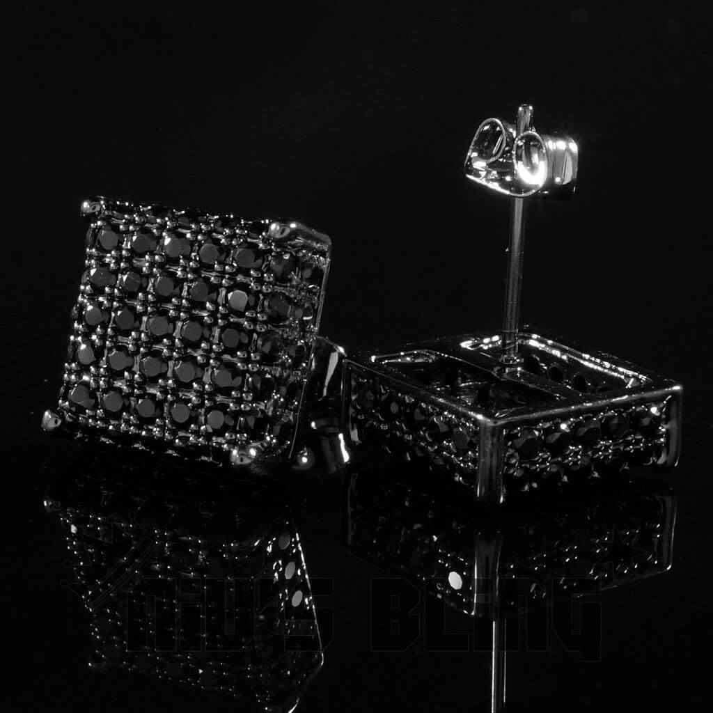 Affordable 18k Black Gold Iced Out Square Stud Hip Hop Earrings - Side and Back View