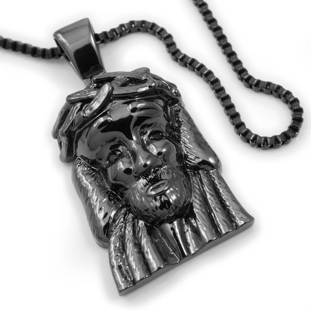 18k black gold plated jesus piece 6 with box chain nivs bling 18k black gold plated jesus piece 6 with box chain mozeypictures Images