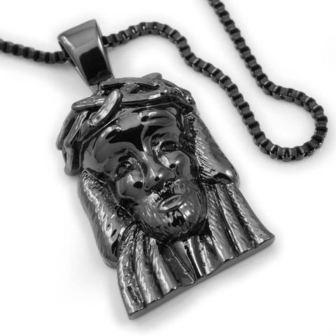 Affordable 18K Black Gold Plated Jesus Piece 6 Pendant - White Background