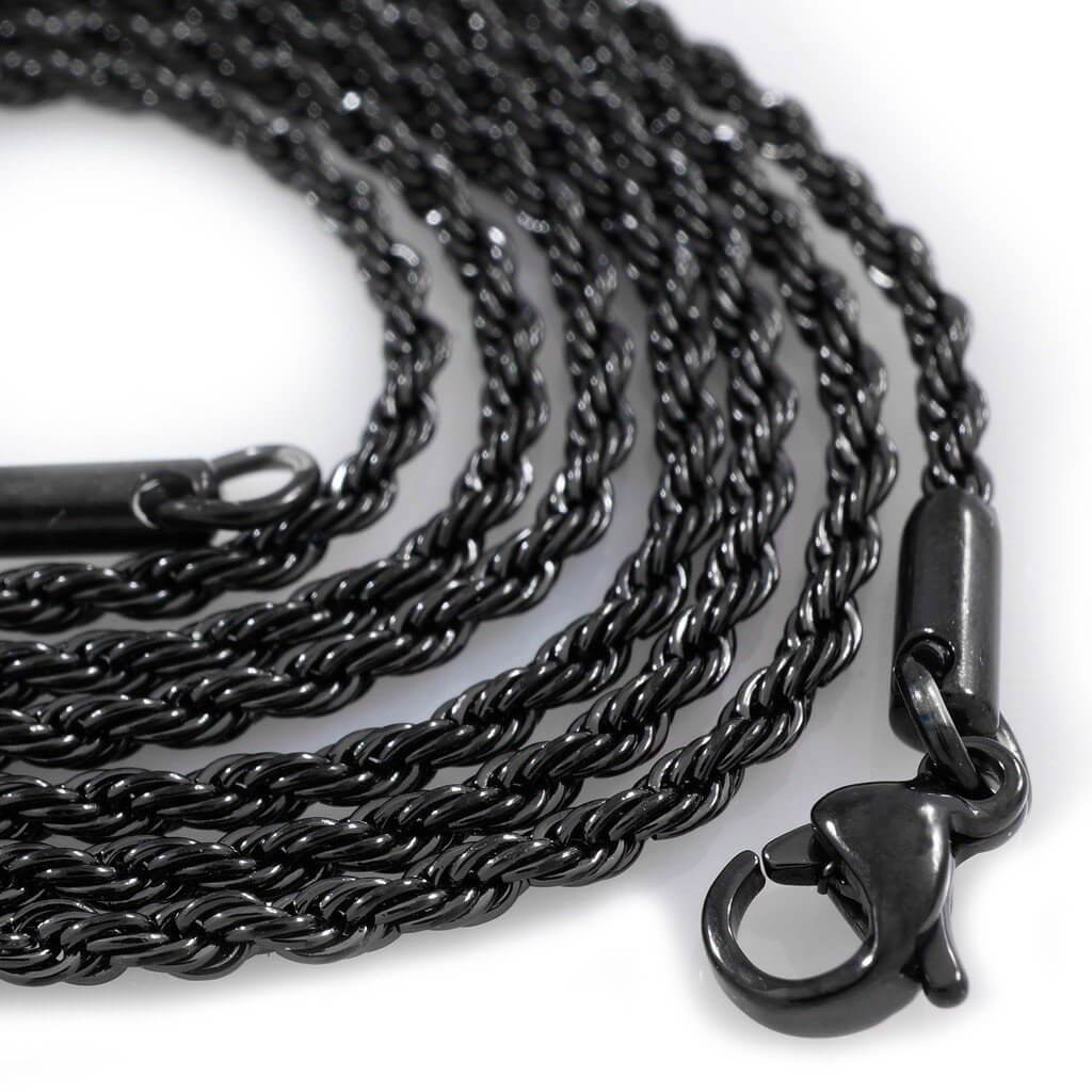 Affordable 18K Black Gold Rope Hip Hop Chain - White Background