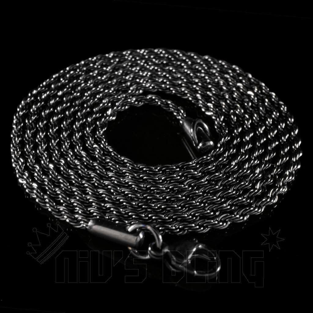 Affordable 18K Black Gold Rope Hip Hop Chain - Whole View 2mm Width