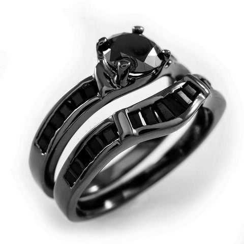 18K Black Gold Wedding Engagement Ring Set