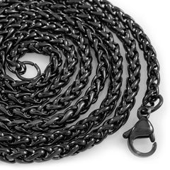 Affordable 18K Black Gold Wheat Hip Hop Chain - White Background