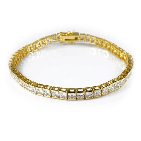 Affordable 18K Gold 1 Row Princess Cut Tennis Hip Hop Bracelet - White Background