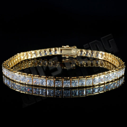 Affordable 18K Gold 1 Row Princess Cut Tennis Hip Hop Bracelet - Front view