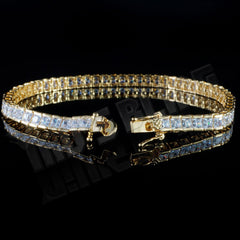 Affordable 18K Gold 1 Row Princess Cut Tennis Hip Hop Bracelet - Side View with Open Box Clasp