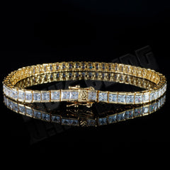 Affordable 18K Gold 1 Row Princess Cut Tennis Hip Hop Bracelet - Side View with Closed Box Clasp