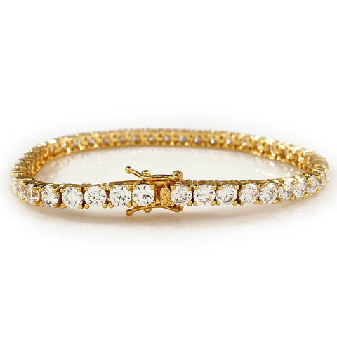 Affordable 18K Gold 1 Row Tennis Hip Hop Bracelet - White Background