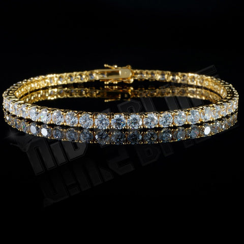 Affordable 18K Gold 1 Row Tennis Hip Hop Bracelet - Front View