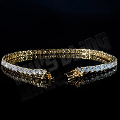 Affordable 18K Gold 1 Row Tennis Hip Hop Bracelet - Side View with Open Box Clasp