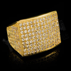 Affordable 18K Gold 19mm Iced Out Micropave Hip Hop Ring - Side Whole View