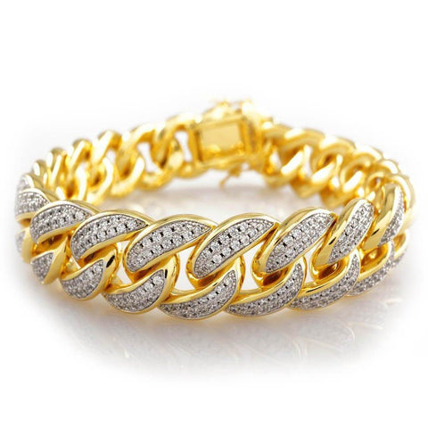 Affordable 18K Gold 2 Row Iced Out Cuban Link Hip Hop Bracelet - White Background