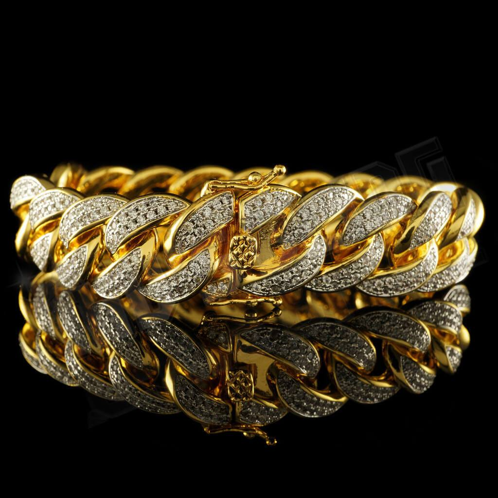 Affordable 18K Gold 2 Row Iced Out Cuban Link Hip Hop Bracelet - Back View