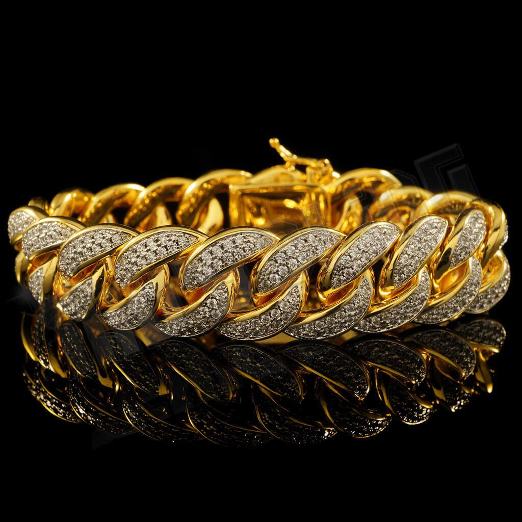 Affordable 18K Gold 2 Row Iced Out Cuban Link Hip Hop Bracelet - Front View