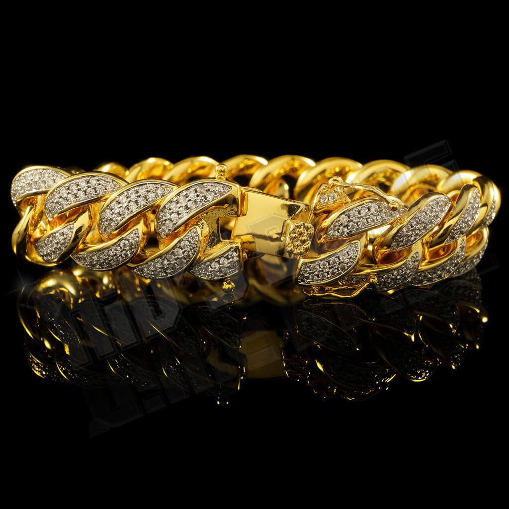 Affordable 18K Gold 2 Row Iced Out Cuban Link Hip Hop Bracelet - Side View with Open Box Clasp