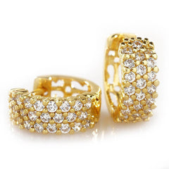 Affordable 18K Gold 3 Row Huggie Hoop Hip Hop Earrings - White Background