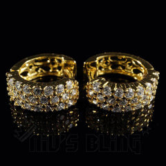Affordable 18K Gold 3 Row Huggie Hoop Hip Hop Earrings - Front view