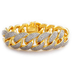 18K Gold 3 Row Iced Out Cuban Link Bracelet