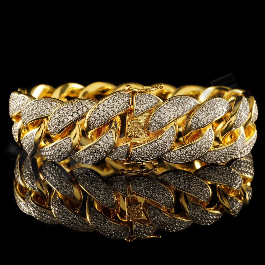 Affordable 18K Gold 3 Row Iced Out Cuban Link Hip Hop Bracelet - Side View with Closed Box Clasp