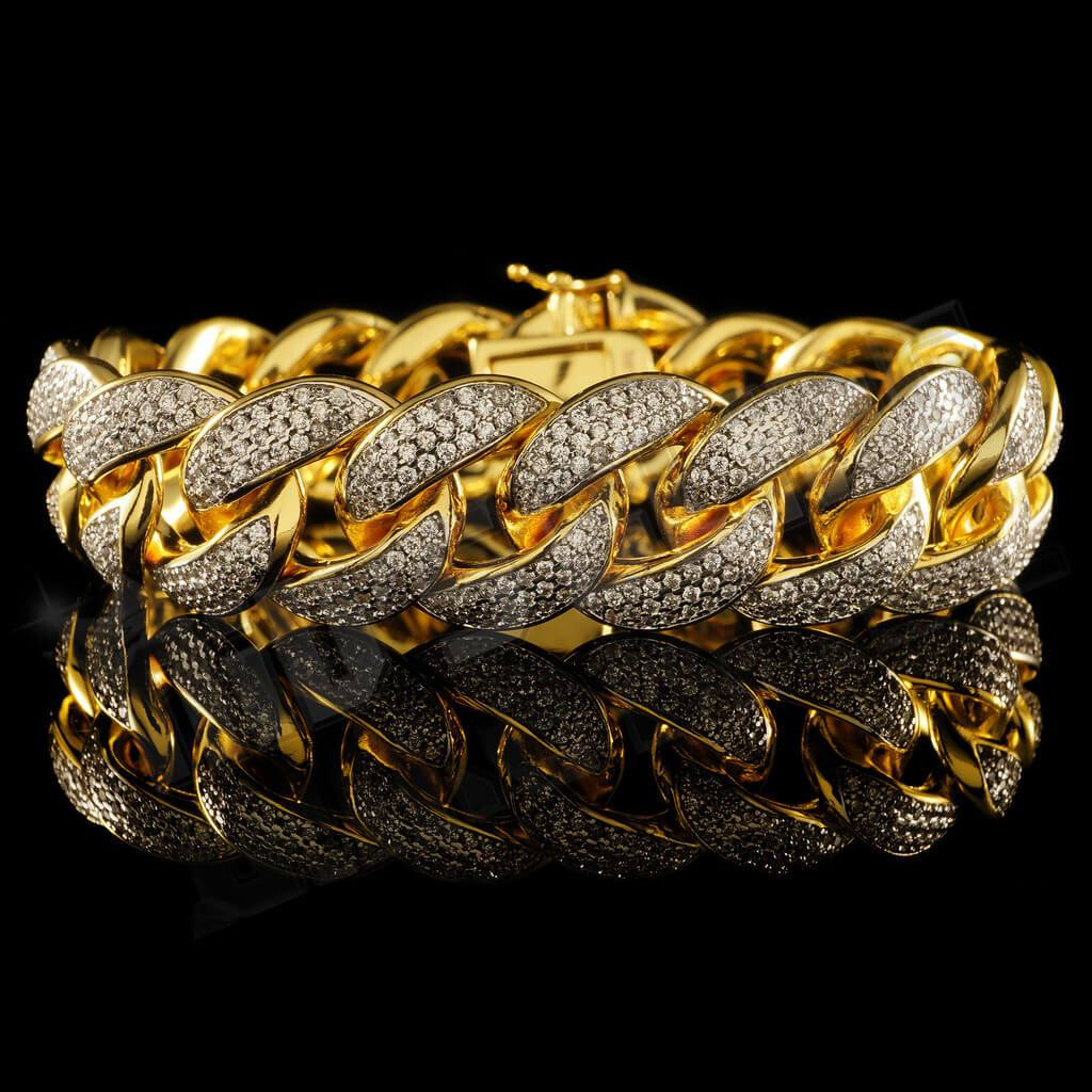 Affordable 18K Gold 3 Row Iced Out Cuban Link Hip Hop Bracelet - Front view