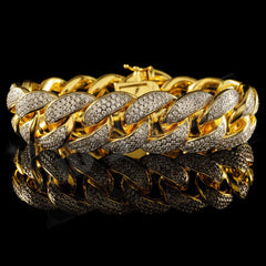 18K Gold 3 Row Iced Cuban Link Bracelet