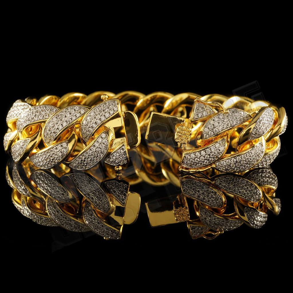 Affordable 18K Gold 3 Row Iced Out Cuban Link Hip Hop Bracelet - Side View with Open Box Clasp