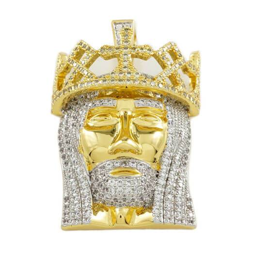 18K Gold Crowned Jesus Piece Pendant