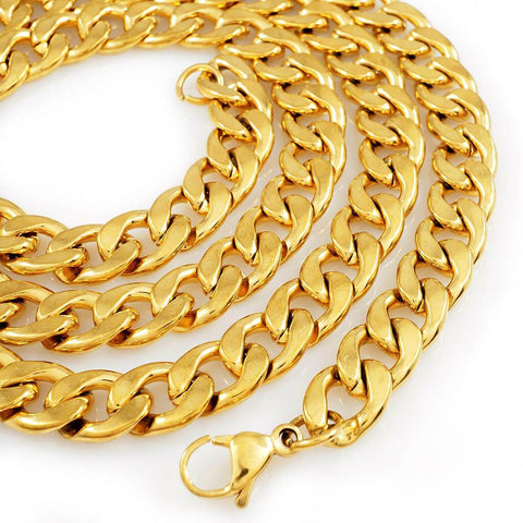 Affordable 18K Gold Cuban Link Hip Hop Chain - White Background